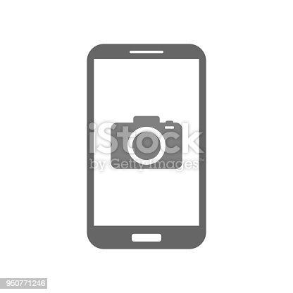 Mobile camera app. Photo camera icon on smartphone screen. Vector.