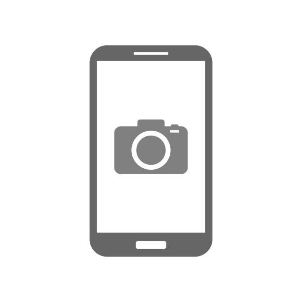 mobile app foto kamera kamerasymbol auf smartphone-bildschirm. vektor - fotohandy stock-grafiken, -clipart, -cartoons und -symbole