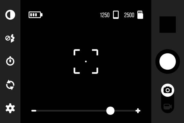 mobile kamera app ui. sucher-schnittstelle für smartphone-cam-anwendung mit schuss, galerie, kontrast, blitz, timer, einstellungen, kameras switcher und foto oder video-tasten. vektor-vorlage - fotohandy stock-grafiken, -clipart, -cartoons und -symbole