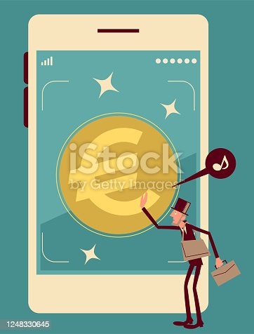 Businessman Characters Vector art illustration.Copy Space, Full Length. Mobile Cash: Businessman with top hat and a briefcase pushing Euro sign button on touch screen of a big smart phone.