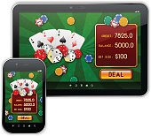 Vector high-detailed mobile casino application interface with responsive design, for Tablet PC and Smartphone, on seamless pattern. Image contains transparency, 10 EPS.
