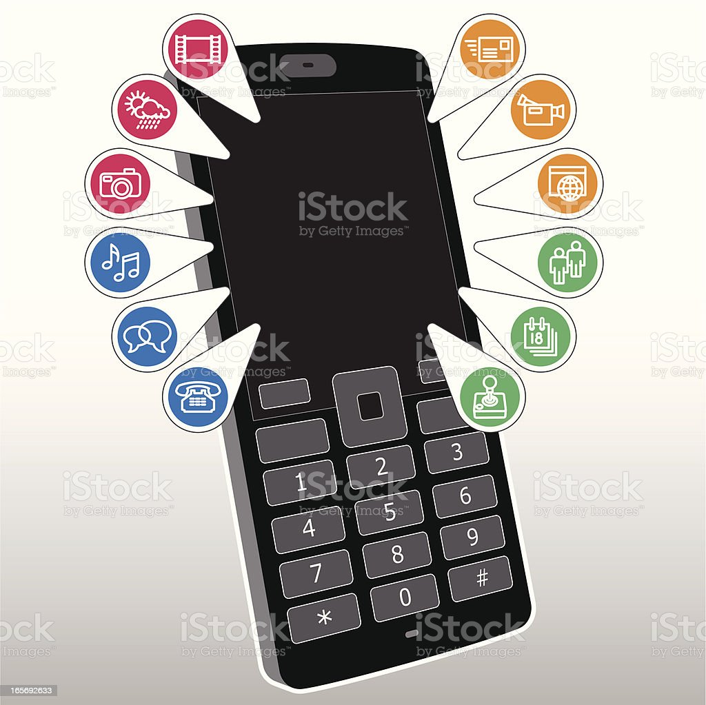 Mobile / Cell Phone Functionality - Details royalty-free stock vector art