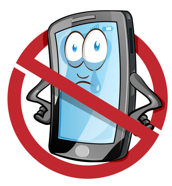 Mobile cell phone in cartoon vector style inside red banned icon. vector art illustration