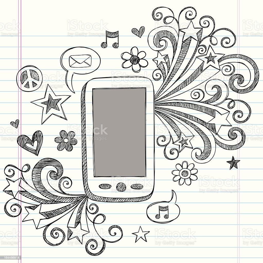 Mobile Cell Phone PDA Sketchy Doodle Vector Design vector art illustration