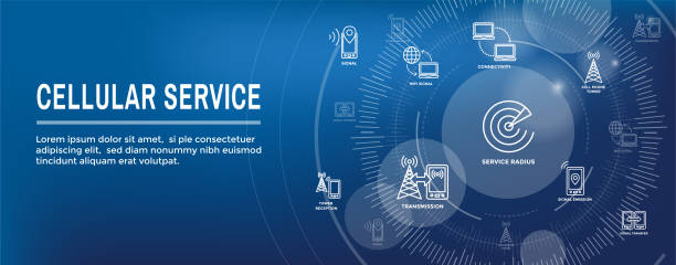 Mobile Cellular Service Web Header Banner with Cellphone Towers and Service area vector art illustration