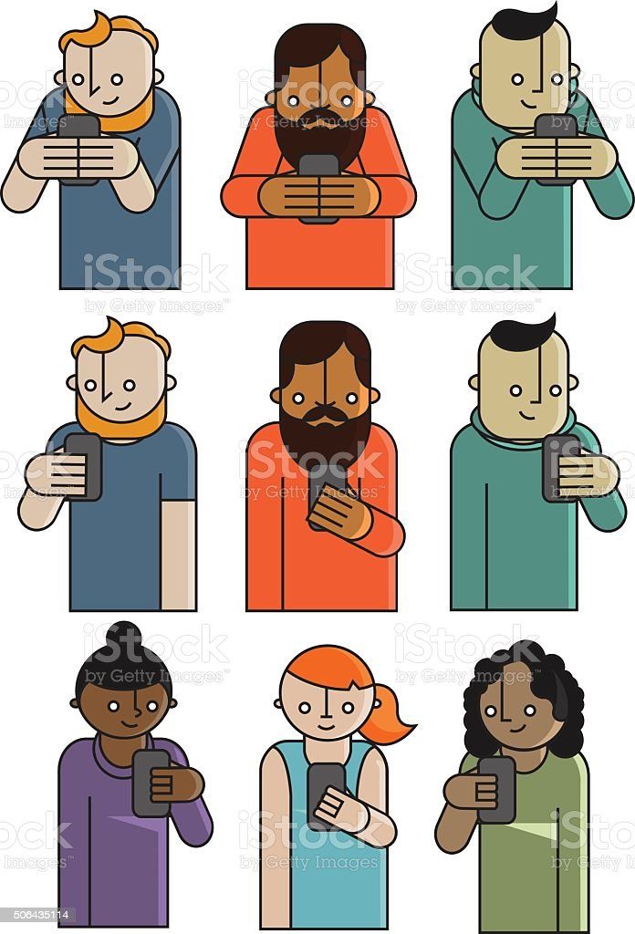 Mobile Characters vector art illustration