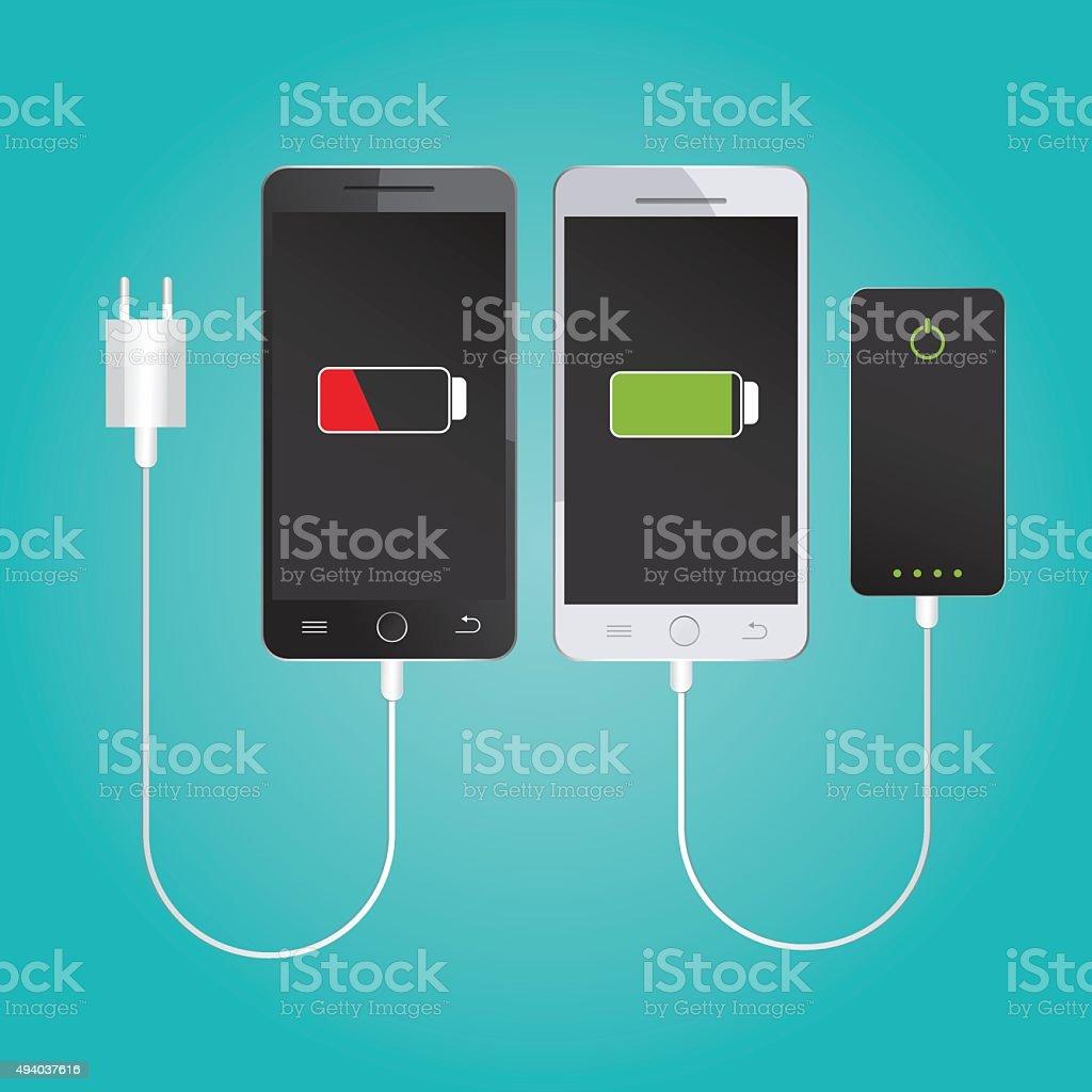 Mobile charging. Powerbank vector art illustration
