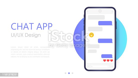 Mobile chat app mockup. UX or UI design. Smartphone Isolated on white background. Social network design template.