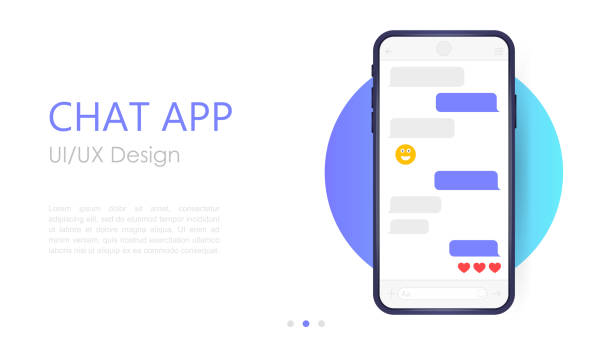 Mobile chat app mockup. UX or UI design. Smartphone Isolated on white background. Social network design template Mobile chat app mockup. UX or UI design. Smartphone Isolated on white background. Social network design template. cyborg stock illustrations