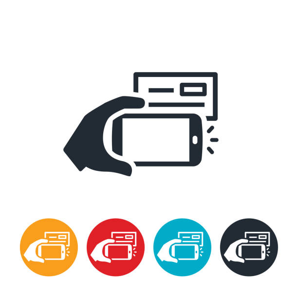 stockillustraties, clipart, cartoons en iconen met mobiel controle stortings pictogram - draagbare informatie apparatuur