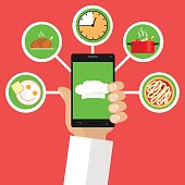 Mobile chef. A chef's cap on the screen saver of the phone.