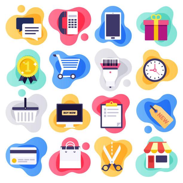 stockillustraties, clipart, cartoons en iconen met mobile commerce & consumentengedrag platte vloeibare stijl vector icon set - illustraties van webshop