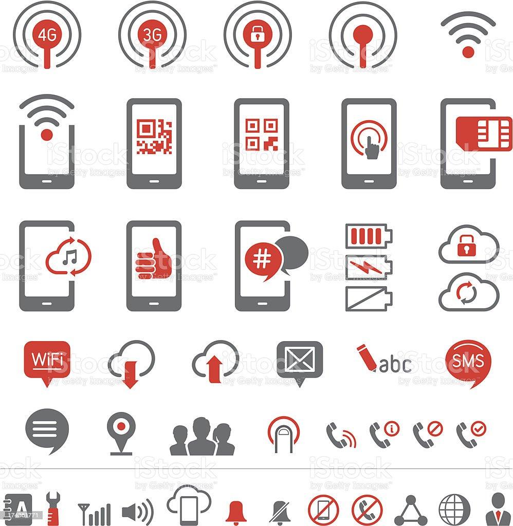 Mobile communication icons vector art illustration