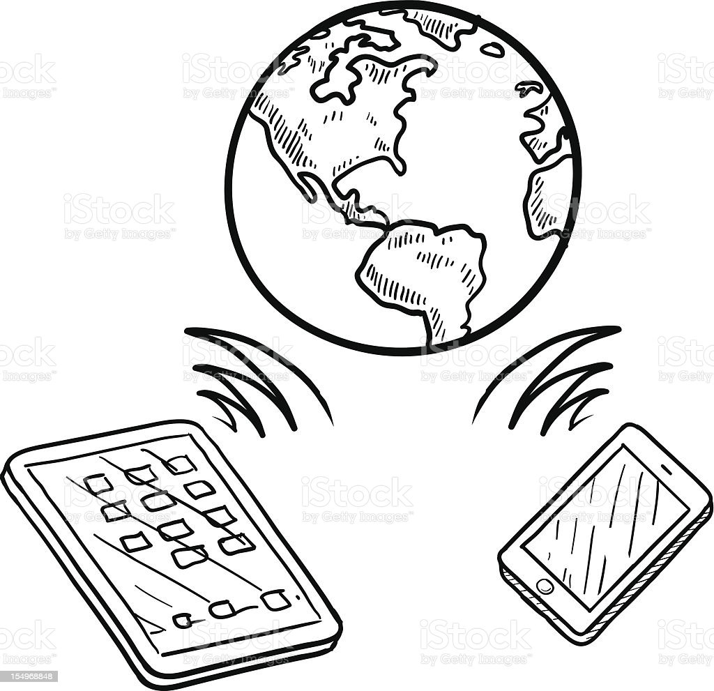 Mobile communication sketch royalty-free stock vector art