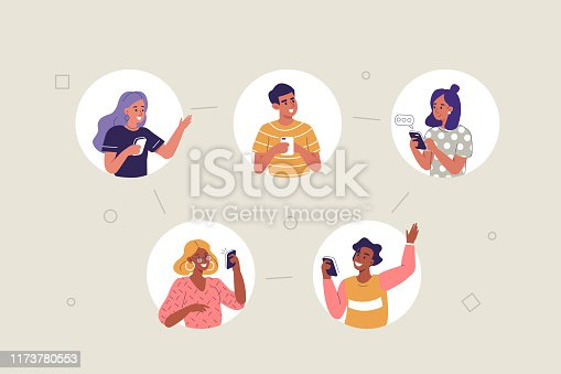 People Characters using Mobile App for Dating and Communication. Woman and man chatting on smartphones. Friends Talking and Laughing together. Social Media Concept. Flat Cartoon Vector Illustration.
