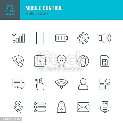 Set of 20 Mobile Control thin line vector icons. Sound, Location, Apps, Security, Microphone, Time and so on