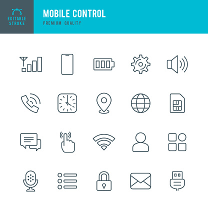 Mobile Control - set of thin line vector icons