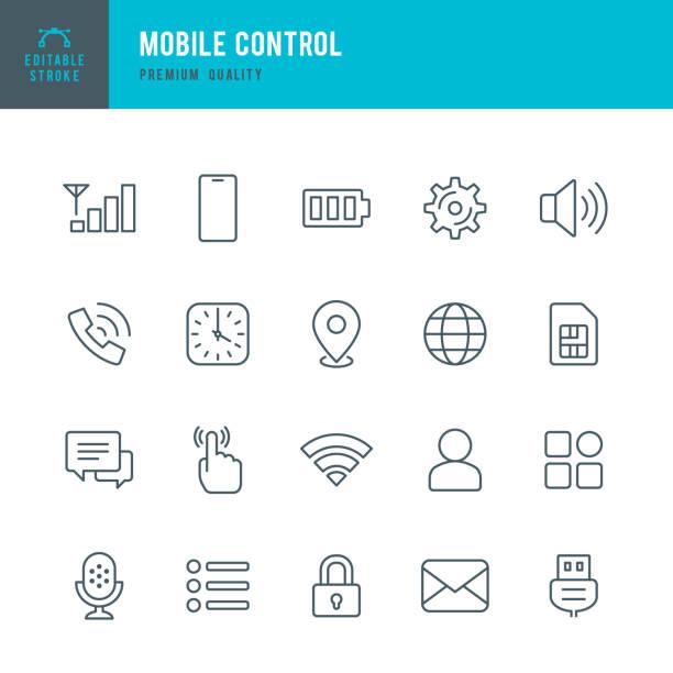 Mobile Steuerung-Satz von dünnen Vektorsymbolen – Vektorgrafik