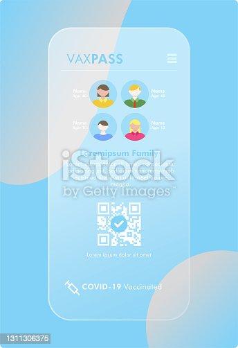 istock Mobile Covid-19 Vaccine Passport - VaxPass for Family 1311306375
