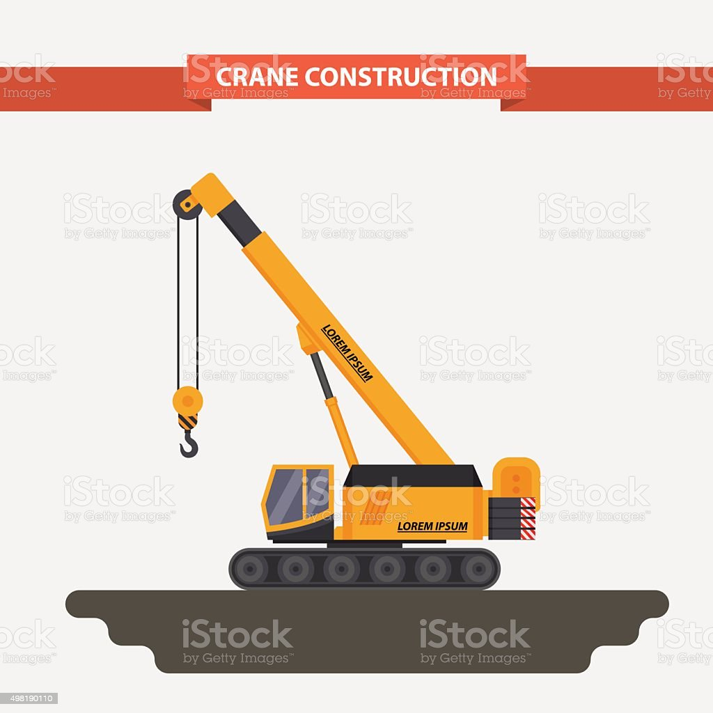 mobile crane, tractor. flat, isolated background vector art illustration