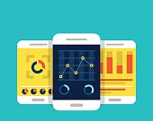 Mobile dashboards with analytics information - vector illustration