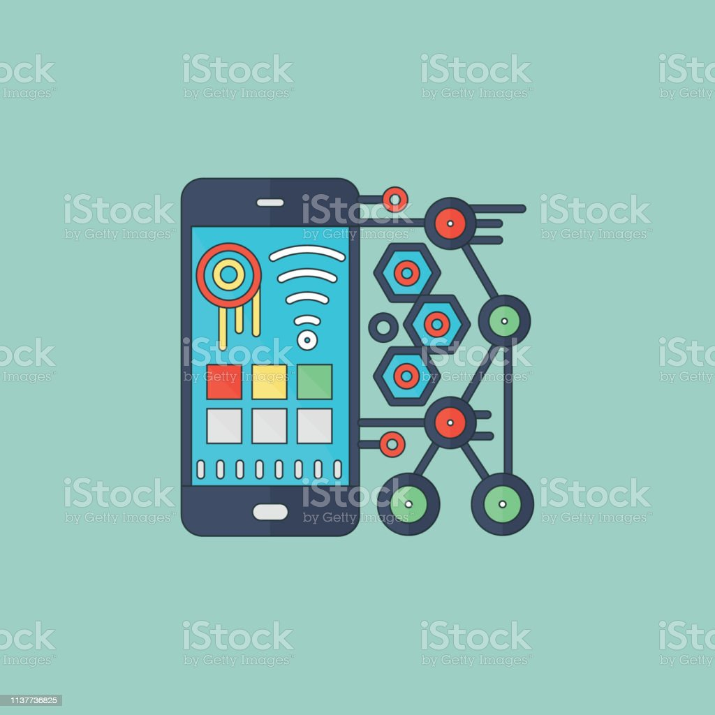 Mobile Data App Construction Stock Illustration - Download Image Now