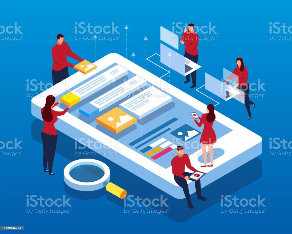 Mobile Data APP Construction vector art illustration