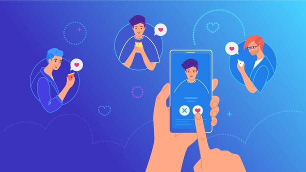 Mobile dating app for finding new friends Mobile dating app for finding new friends, hook-ups and romantic partners. Bright vector illustration of human hand holding smartphone and pushing the button with heard symbol for friendship or love online dating stock illustrations