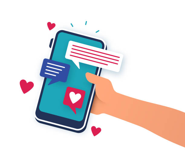 illustrazioni stock, clip art, cartoni animati e icone di tendenza di mobile dating phone app - social media