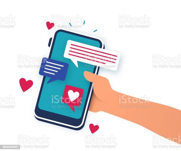 Mobile Dating Telefonappen-vektorgrafik och fler bilder på App