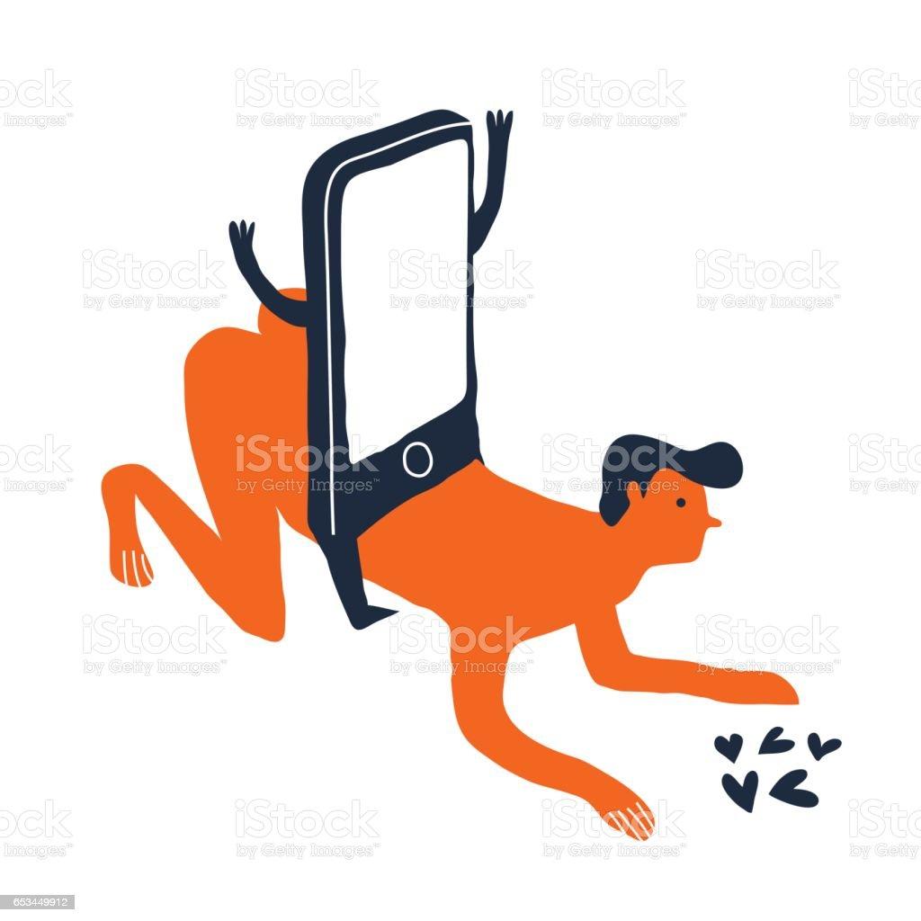 mobile dependence concept vector art illustration