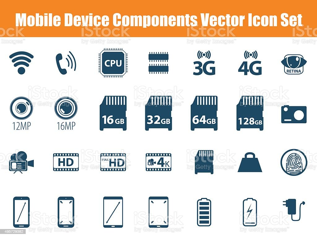 Mobile Device Components Icon Set vector art illustration