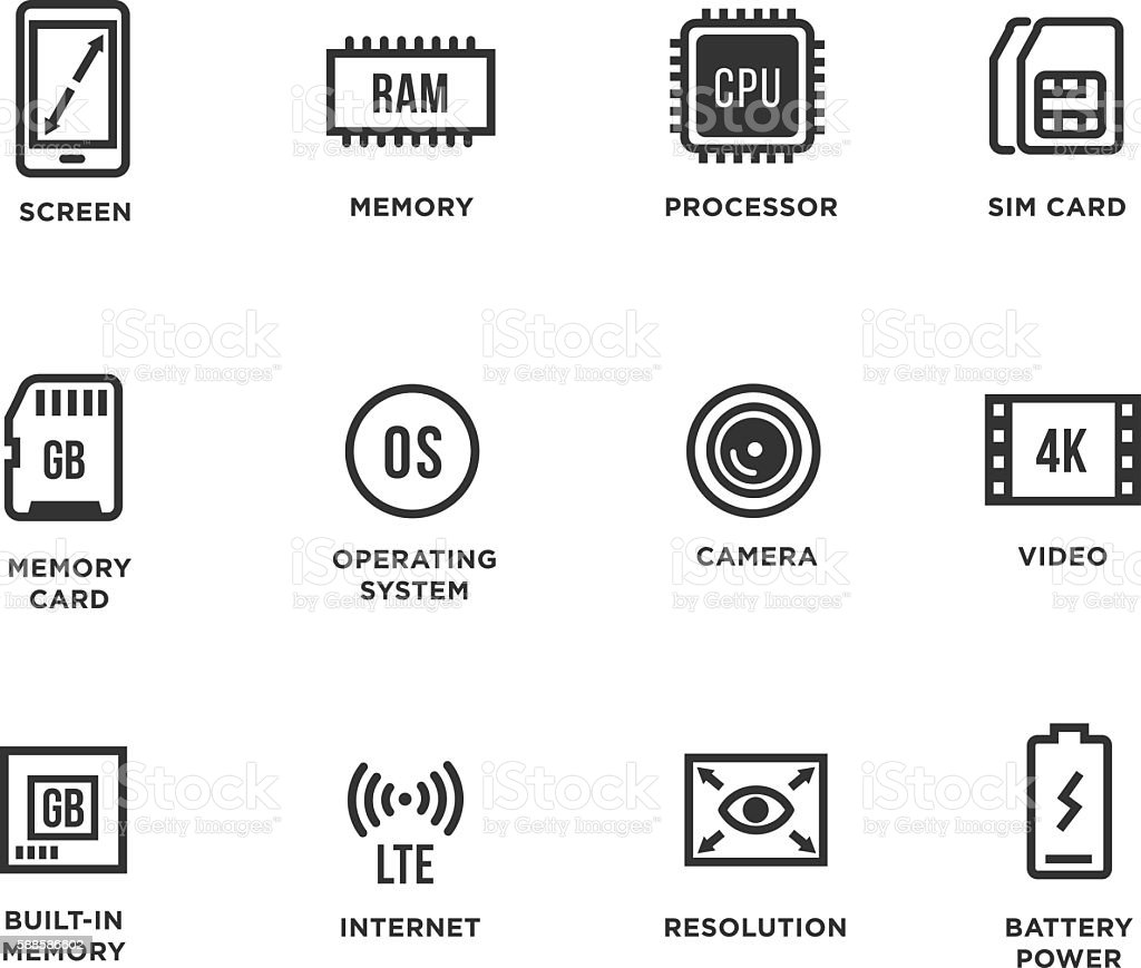 Mobile Device Components Vector Icon Set vector art illustration
