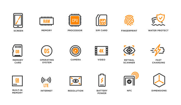 mobile device components vector icon set - сетчатка stock illustrations