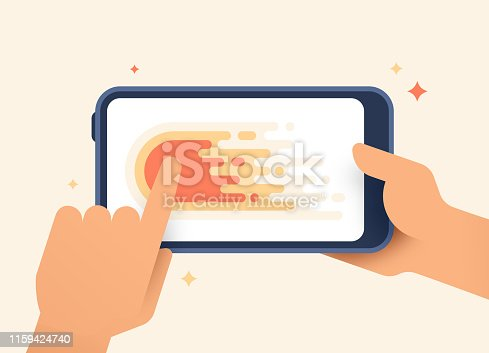 Smart phone mobile device gesture swiping left mobile device.