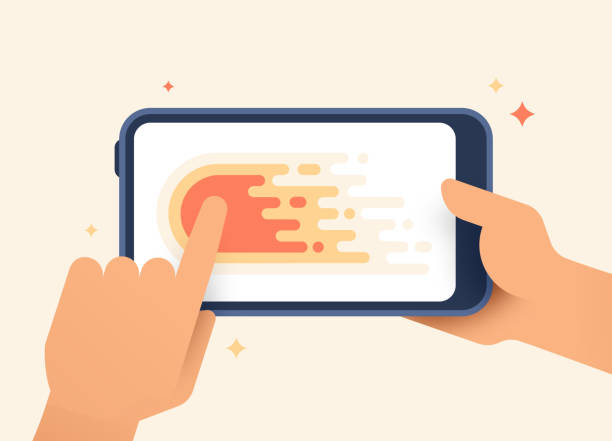 mobile device swiping left gesture - phone hand stock illustrations