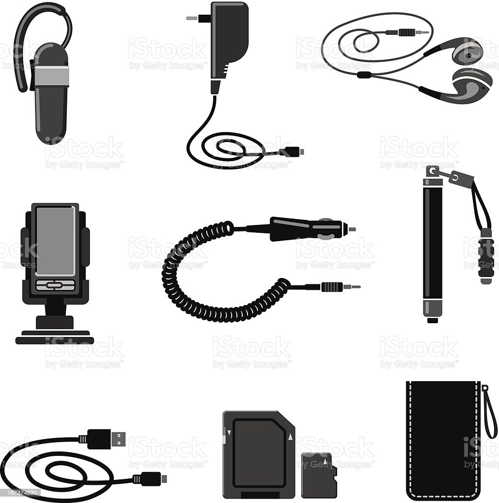 Mobile devices accessories vector art illustration