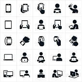 An icon set of mobile devices and computers. The icons also include several instances of people using and interacting with the devices and computers. They include smartphones, tablets, smartwatches, laptop and desktop computers.