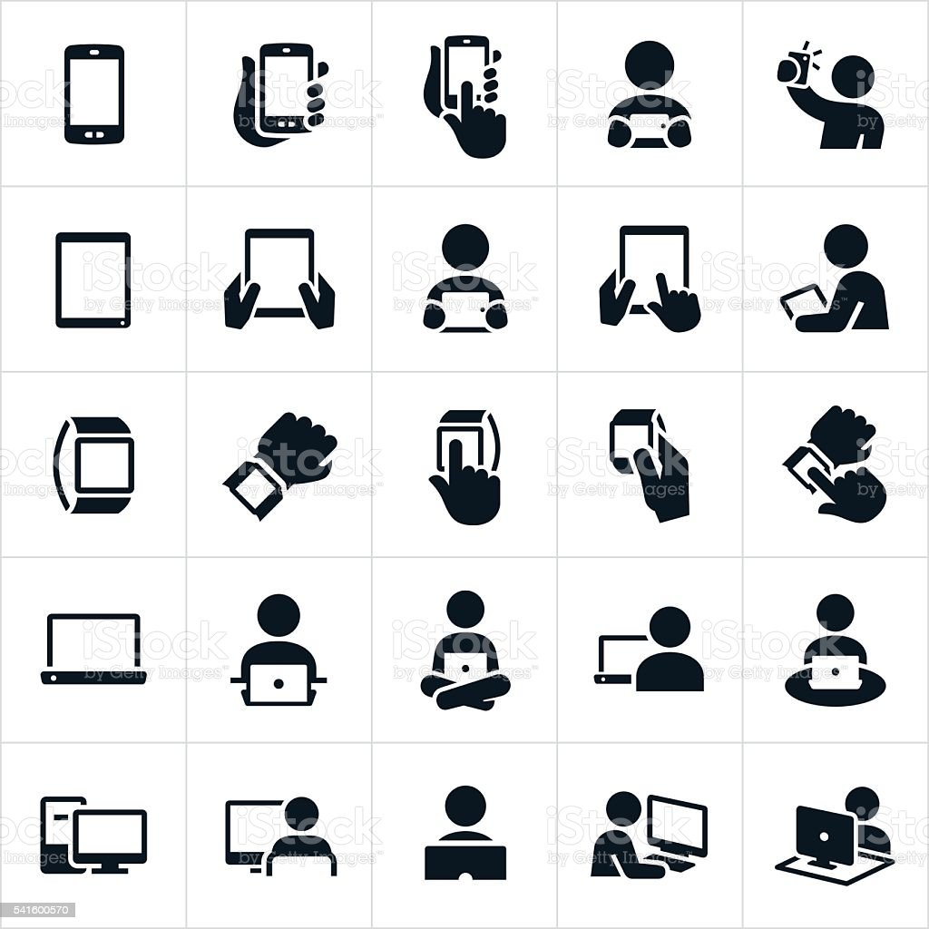 Mobile Devices and Computers Icons vector art illustration