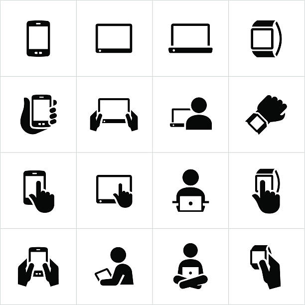 Mobile Devices Icons Mobile device icons. Smartphone, tablet pc, laptop, smartphone, handheld computer, handheld. electrical equipment stock illustrations