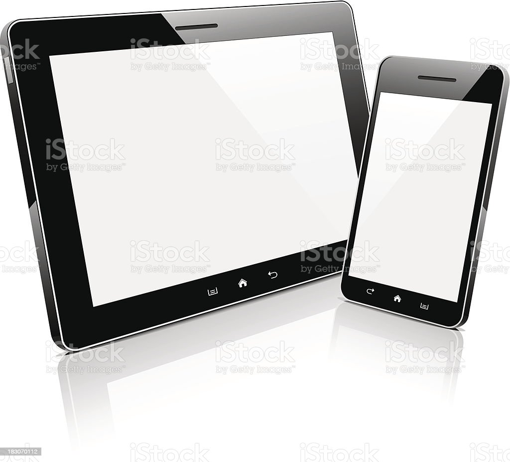 Mobile devices with blank screens vector art illustration