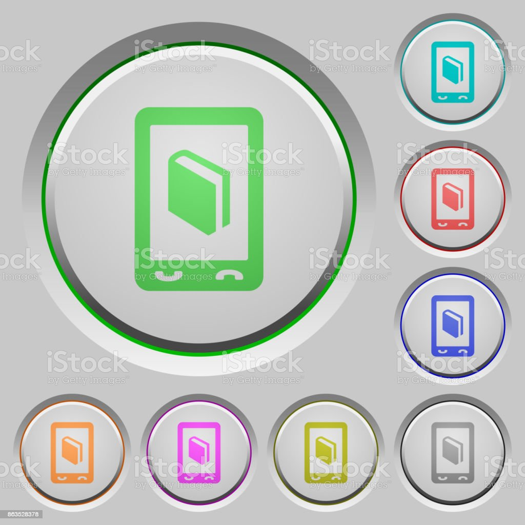 Mobile dictionary push buttons vector art illustration