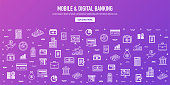 Mobile and digital banking outline style web banner design. Line vector icons for infographics, mobile and web designs.