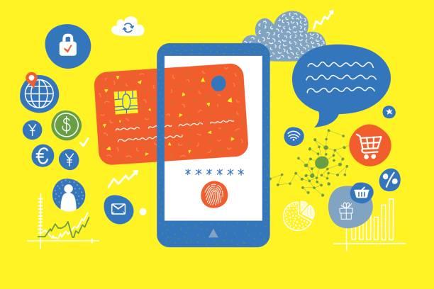 stockillustraties, clipart, cartoons en iconen met mobiele digitale portemonnee - mobiele betaling