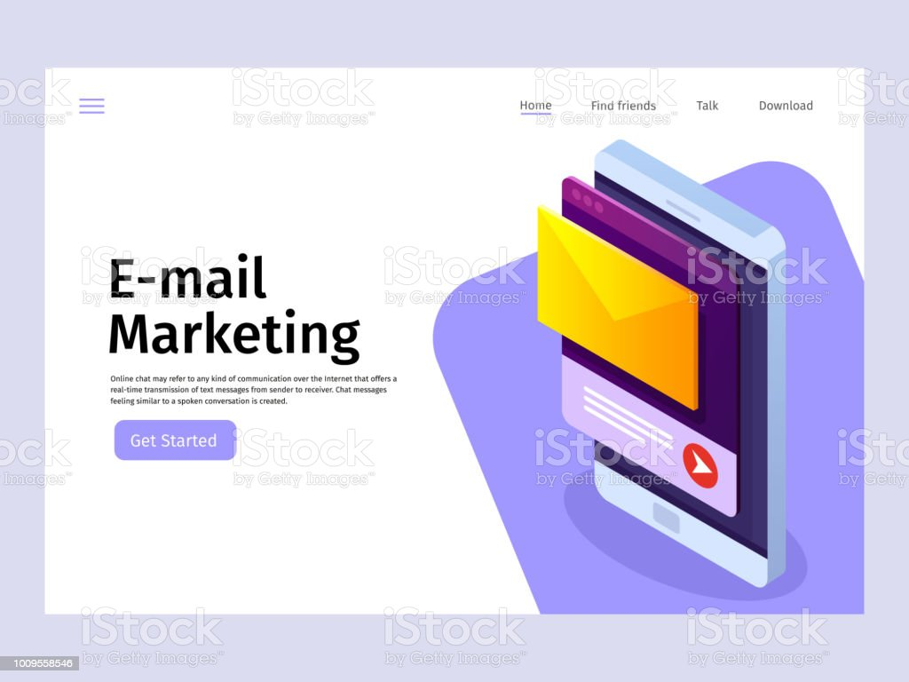 Mobile email notification concept. Email marketing. Landing page template. Vector 3d isometric illustration. vector art illustration