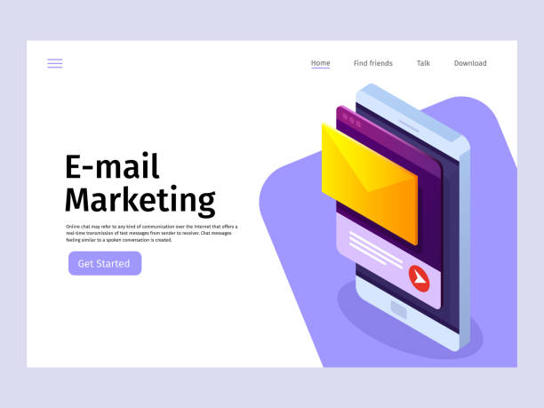 mobile email notification concept. email marketing. landing page template. vector 3d isometric illustration. - email templates stock illustrations