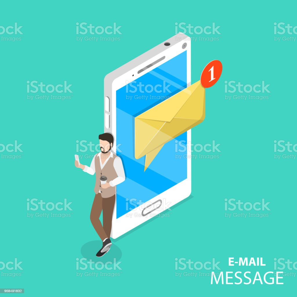 Mobile Email Notification Flat Isometric Vector Stock