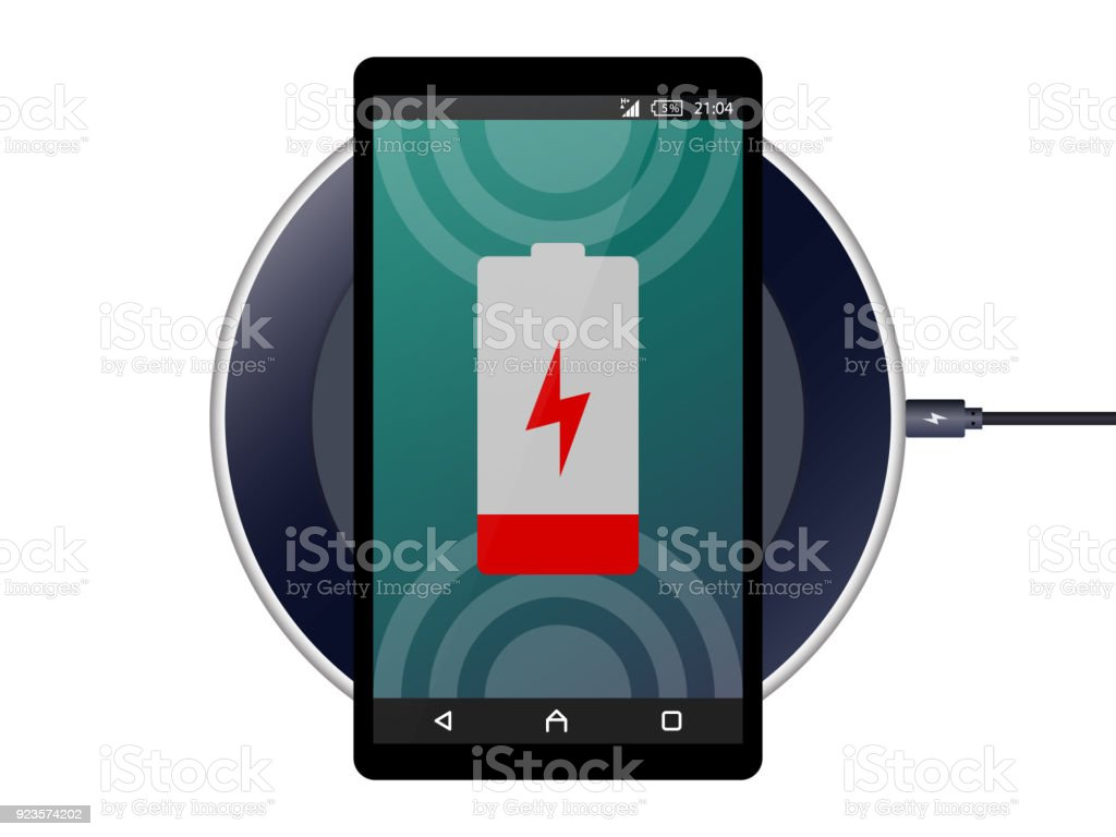 Mobile Fast Wireless Charger,Wireless charging pad,Power Port Qi Wireless Charger Inductive Charger for Galaxy Phone Vector vector art illustration