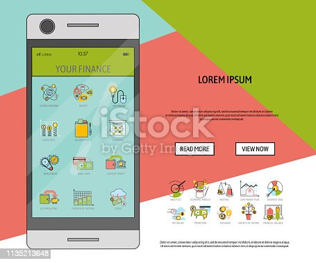 istock Mobile financial software banner vector illustration. Risk management. Corporate finance. Corporate valuation. Fianncial modelling. Stock exchange. Cash flow. Observing your finance. 1135213648