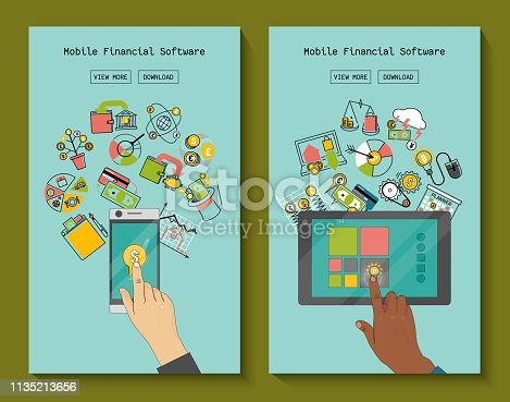 istock Mobile financial software for phone and tablet banners vector illustration. Risk management. Corporate finance. Corporate valuation. Fianncial modelling. Stock exchange. Cash flow. 1135213656